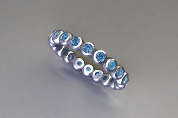 Round Brilliant Cut Blue Diamond Platinum Ring Design by Robert Feather Jewellery