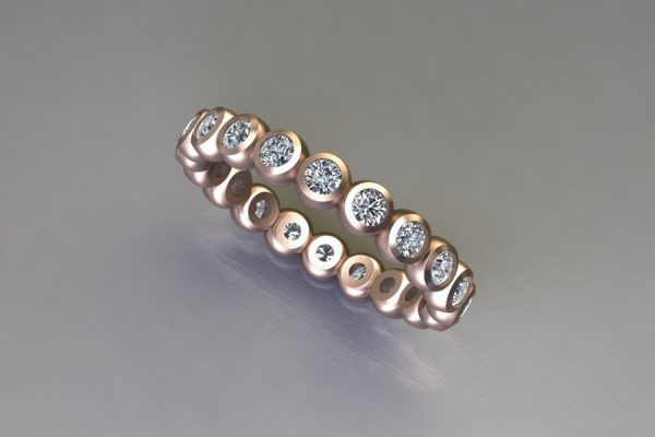 Round Brilliant Cut Diamond Set 18ct Red Gold Ring Design by Robert Feather Jewellery
