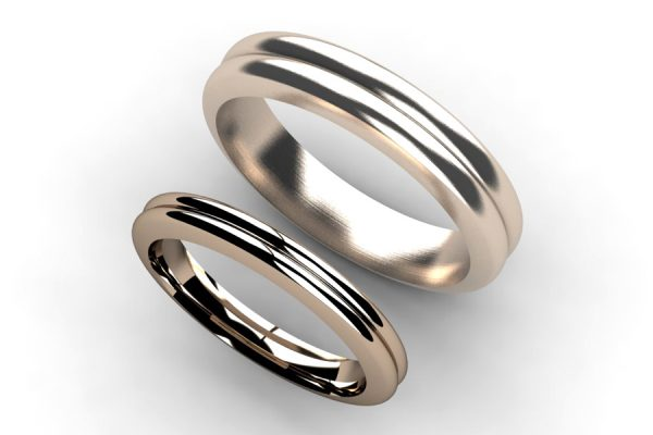 Ribbed 18ct Red Gold Wedding Ring Designs by Robert Feather Jewellery
