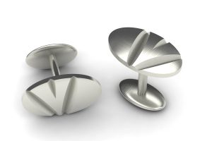 Notch Oval 18ct White Gold Cufflink Design by Robert Feather Jewellery