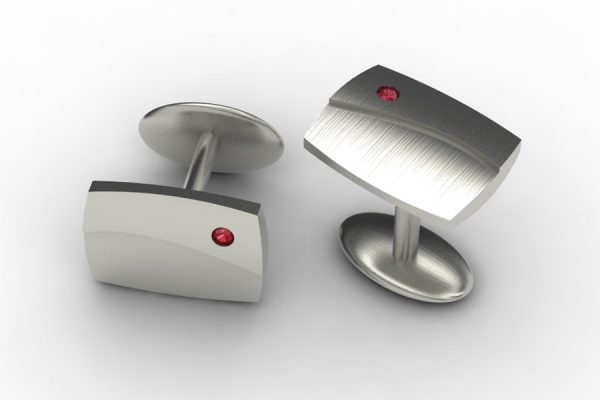 Ruby Set 18ct White Gold Cufflink Design by Robert Feather Jewellery