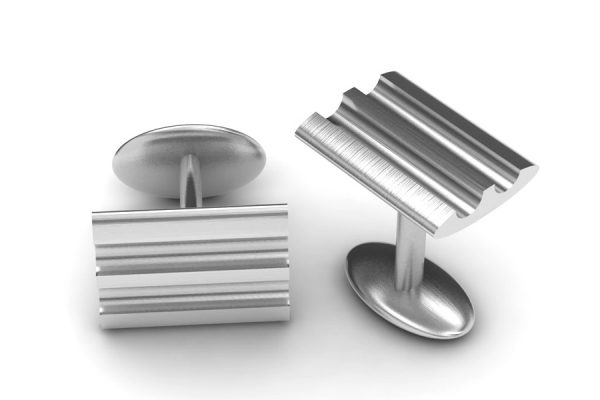 Rectangular Silver Cufflink Design by Robert Feather Jewellery