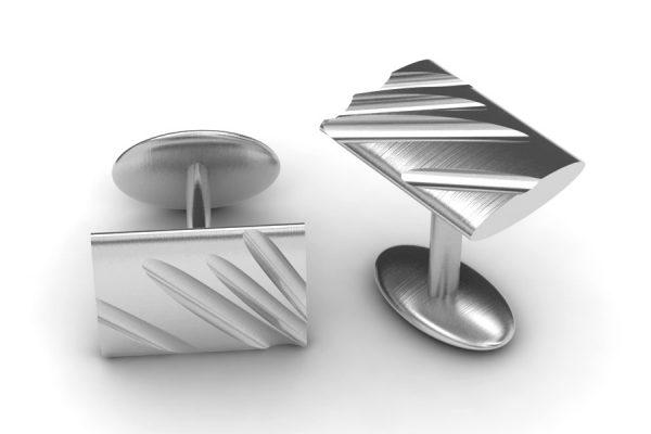 Rectangular Silver Cufflink Design by Robert Feather Jewellery