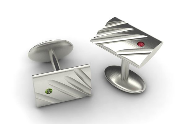 Rectangular 18ct White Gold Cufflink Design by Robert Feather Jewellery