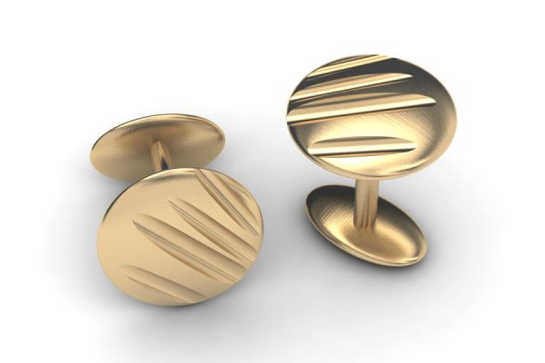 Fluted Round 18ct Yellow Cufflinks Design by Robert Feather Jewellery
