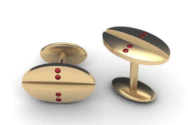 Ruby Set 18ct Yellow Gold Oval Cufflink Design by Robert Feather Jewellery