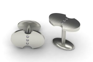 Diamond Set Palladium Oval Cufflink Design by Robert Feather Jewellery