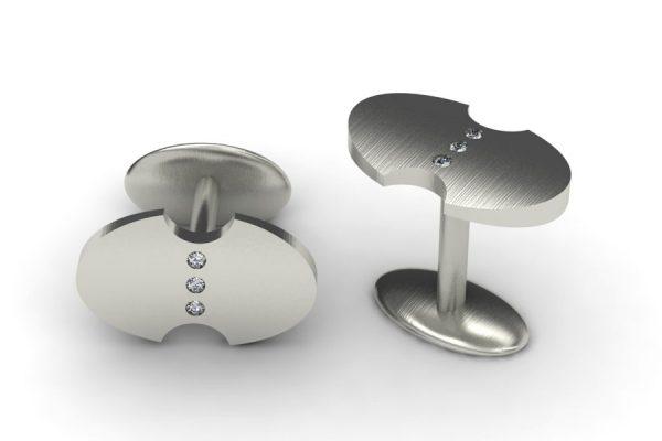 Diamond Set Palladium Oval Cufflink Design by Robert Feather Jewellery