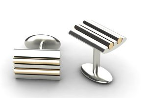 Silver & 18ct Gold Cufflink Design by Robert Feather Jewellery