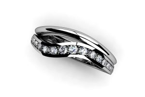 Graduated Diamond Set Platinum Eternity Ring by Robert Feather Jewellery