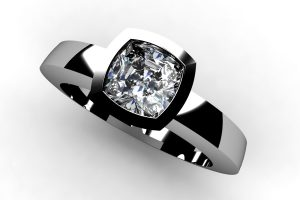 Cushion Cut Diamond Platinum Ring Design by Robert Feather Jewellery