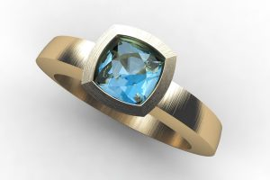 Cushion Aquamarine 18ct Gold Ring Design by Robert Feather Jewellery
