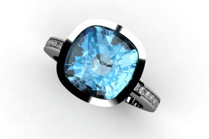 Cushion Blue Topaz & Diamond Set 18ct White Gold Ring Design by Robert Feather Jewellery
