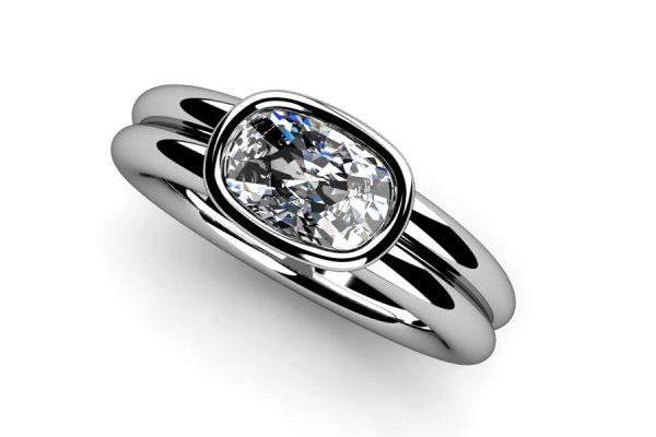 Cushion Cut Diamond Platinum Ring Design by Robert Feather Jewellery