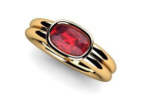 Cushion Cut Ruby 18ct Gold Ring Design by Robert Feather Jewellery