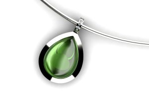 Pear Green Tourmaline & Diamond Set 18ct White Gold Necklace Design by Robert Feather Jewellery