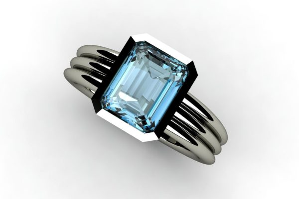 Emerald Cut Aquamarine 18ct White Gold Ring Design by Robert Feather Jewellery