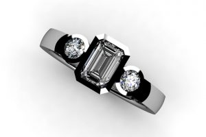 Three Stone Emerald Cut & Round Brilliant Cut Diamond Platinum Ring Design by Robert Feather Jewellery