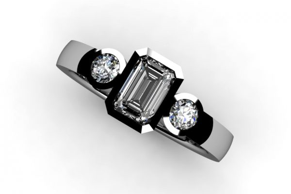 Three Stone Emerald Cut & Round Brilliant Cut Diamond Platinum Ring Design by Robert Feather Jewellery