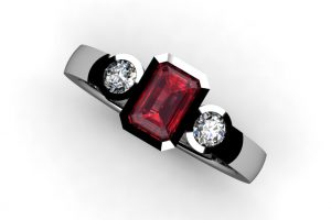 Three Stone Ruby & Round Brilliant Cut Diamond Platinum Ring Design by Robert Feather Jewellery