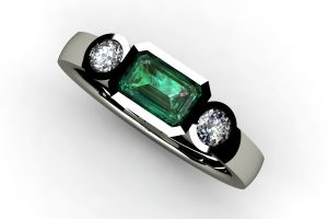 Three Stone Emerald & Round Brilliant Cut Diamond 18ct White Gold Ring Design by Robert Feather Jewellery
