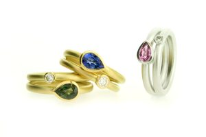 Pear Sapphire & Diamond 18ct Gold Rings by Robert Feather Jewellery