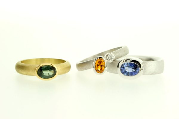 Oval Sapphire 18ct Yellow & White Gold Rings by Robert Feather Jewellery