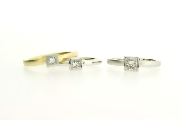 Princess Cut Diamond Platinum & 18ct Gold Engagement Rings by Robert Feather Jewellery