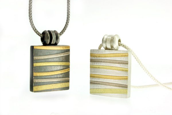Silver & 18ct Striped Coloured Gold Necklaces by Robert Feather Jewellery