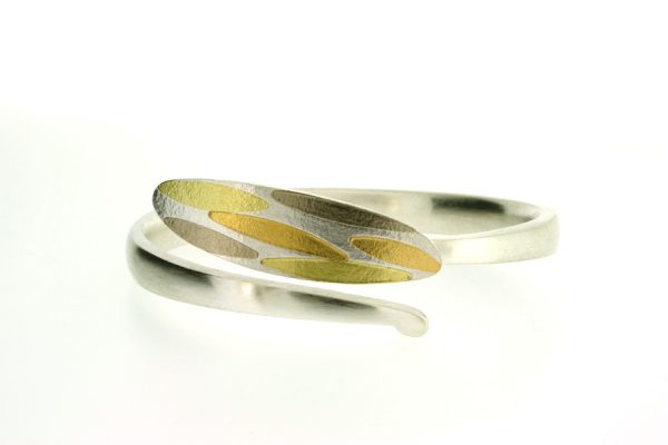 Leaf Design Silver & 18ct Gold Bangle by Robert Feather Jewellery