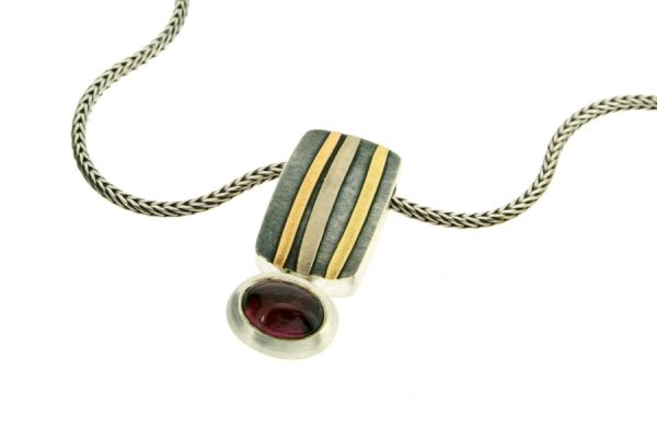 Oval Garnet Silver & 18ct Striped Coloured Gold Necklace by Robert Feather Jewellery
