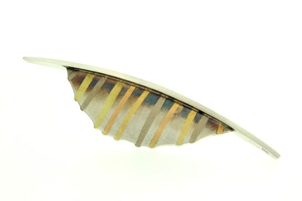 Silver & 18ct Gold Striped Brooch by Robert Feather Jewellery