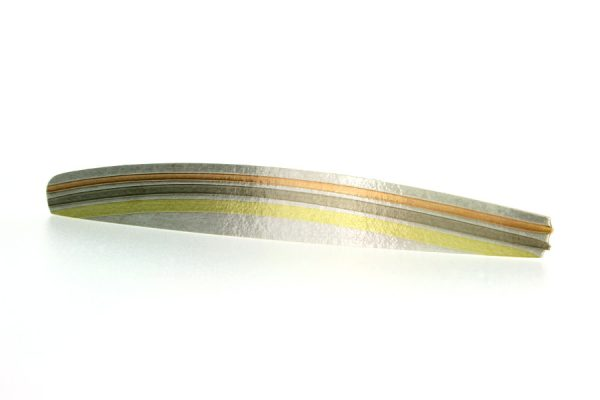 Long Silver & 18ct Gold Striped Brooch by Robert Feather Jewellery