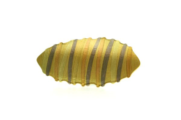 18ct Gold Striped Brooch by Robert Feather Jewellery
