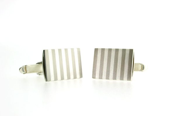Rectangular Silver & Palladium Striped Cufflinks by Robert Feather Jewellery