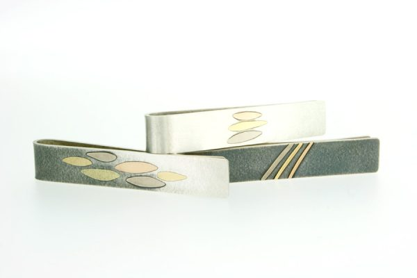 Silver & 18ct Gold Tie Slides by Robert Feather Jewellery