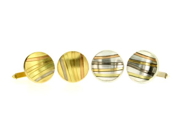 Round 18ct Gold & Silver Striped Cufflinks by Robert Feather Jewellery