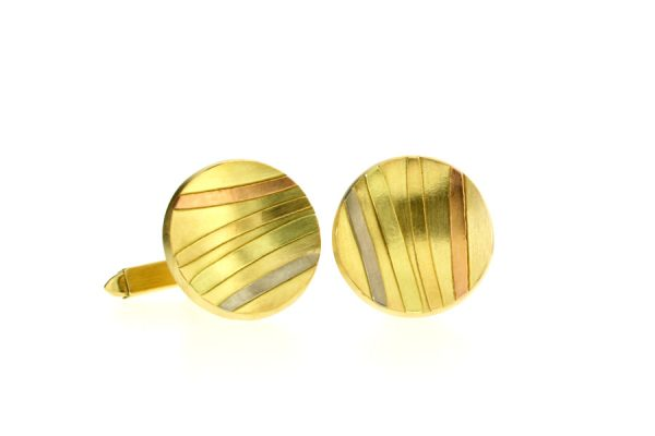 Round 18ct Gold Striped Cufflinks by Robert Feather Jewellery