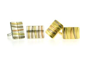 Rectangular 18ct Gold & Silver Striped Cufflinks by Robert Feather Jewellery