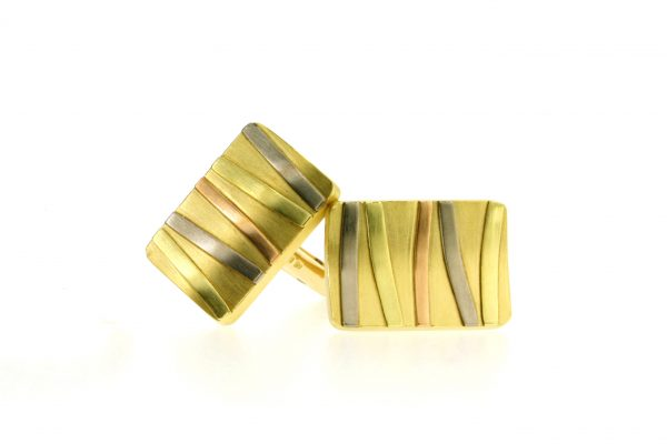 Rectangular 18ct Gold Striped Cufflinks by Robert Feather Jewellery