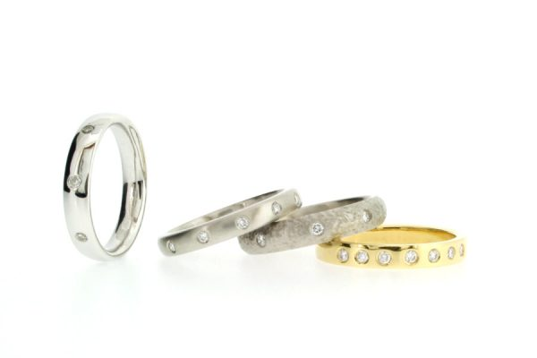 Diamond Set Platinum & 18ct Gold Rings by Robert Feather Jewellery