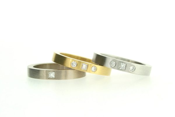 Princess Cut & Round Brilliant Cut Diamond Set 18ct Gold Rings by Robert Feather Jewellery