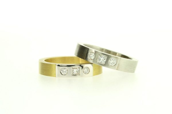 Three Stone Diamond Set Gold & Platinum Rings by Robert Feather Jewellery