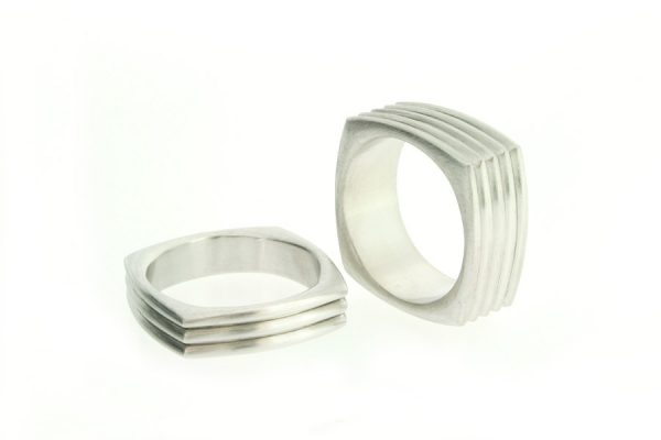 Square Shaped Platinum Wedding Rings by Robert Feather Jewellery