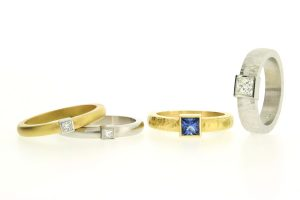 Princess Cut Diamond & Sapphire Platinum & 18ct Gold Rings by Robert Feather Jewellery