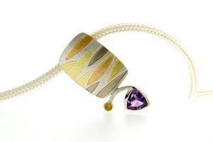Leaf Design Amethyst & Sapphire Silver & 18ct Coloured Gold Necklace by Robert Feather Jewellery