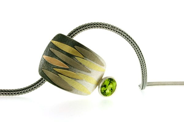 Leaf Design Oval Peridot Silver & 18ct Coloured Gold Necklace by Robert Feather Jewellery