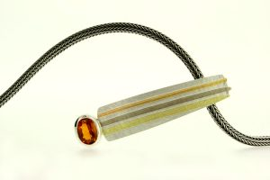 Oval Citrine Silver & 18ct Striped Coloured Gold Necklace by Robert Feather Jewellery