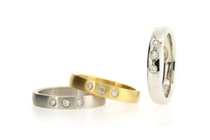 Diamond Set 18ct Gold & Platinum Three Stone Rings by Robert Feather Jewellery