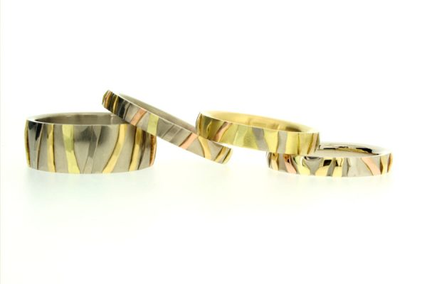 Multi Coloured Striped 18ct Gold Rings by Robert Feather Jewellery